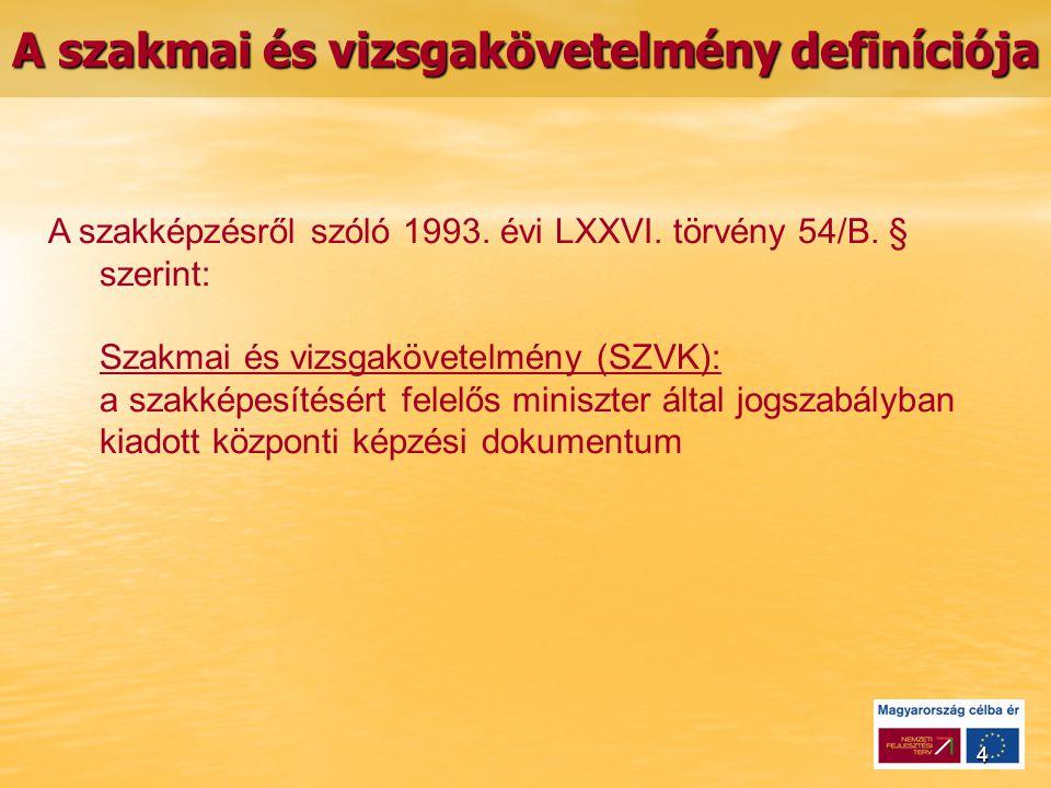 4 A szakmai és vizsgakövetelmény definíciója A szakképzésről szóló 1993.