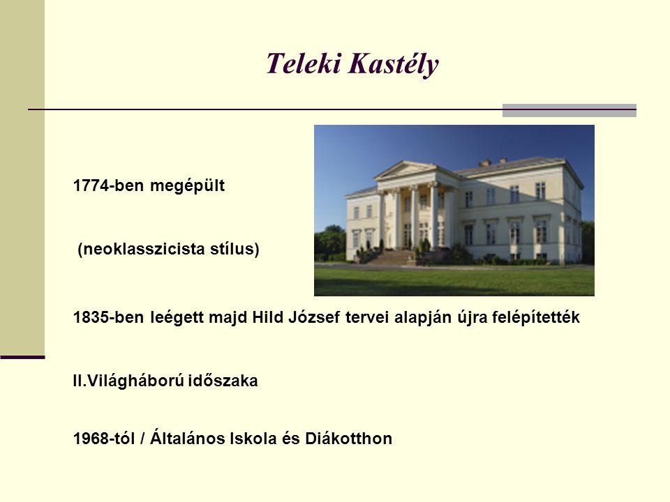 Teleki Kastély 1774-ben megépült (neoklasszicista stílus) 1835-ben leégett majd Hild József tervei alapján újra felépítették II.Világháború időszaka 1