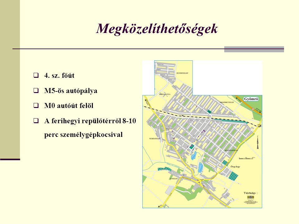 Megközelíthetőségek  4. sz. főút  M5-ös autópálya  M0 autóút felöl  A ferihegyi repülőtérről 8-10 perc személygépkocsival