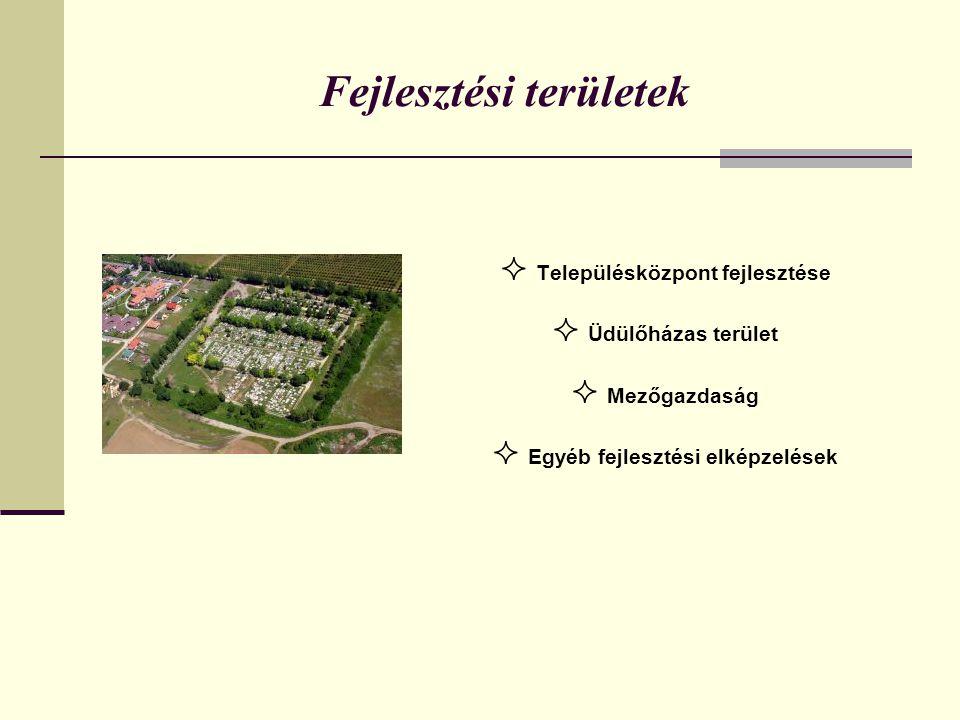 Fejlesztési területek  Településközpont fejlesztése  Üdülőházas terület  Mezőgazdaság  Egyéb fejlesztési elképzelések