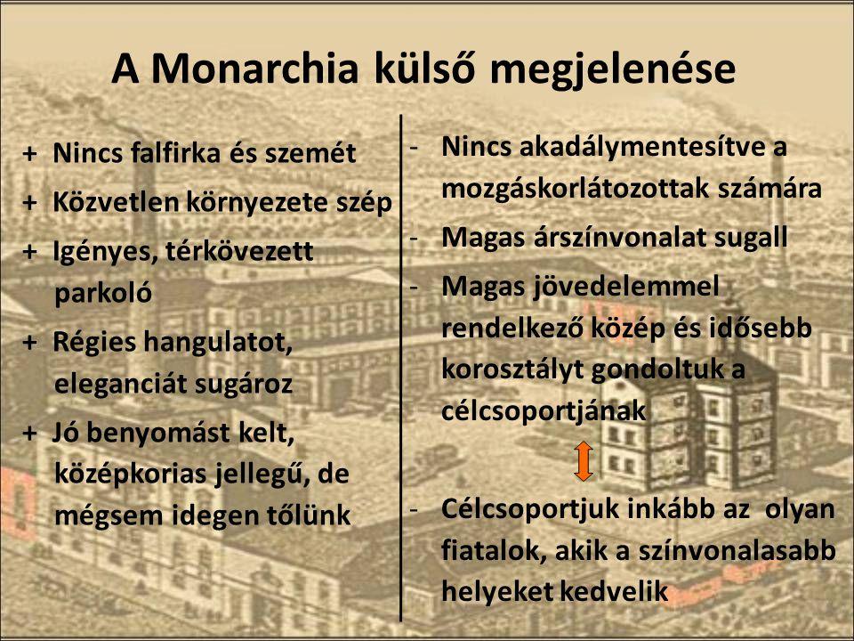 A Monarchia külső megjelenése + Nincs falfirka és szemét + Közvetlen környezete szép + Igényes, térkövezett parkoló + Régies hangulatot, eleganciát sugároz + Jó benyomást kelt, középkorias jellegű, de mégsem idegen tőlünk -Nincs akadálymentesítve a mozgáskorlátozottak számára -Magas árszínvonalat sugall -Magas jövedelemmel rendelkező közép és idősebb korosztályt gondoltuk a célcsoportjának -Célcsoportjuk inkább az olyan fiatalok, akik a színvonalasabb helyeket kedvelik
