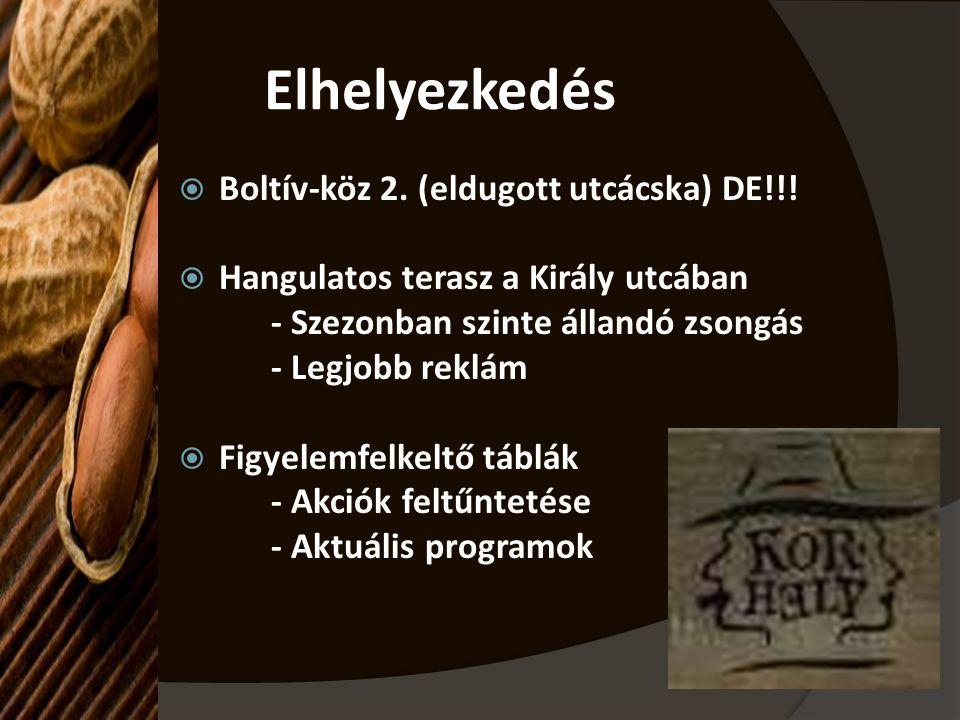 Elhelyezkedés  Boltív-köz 2. (eldugott utcácska) DE!!!  Hangulatos terasz a Király utcában - Szezonban szinte állandó zsongás - Legjobb reklám  Fig