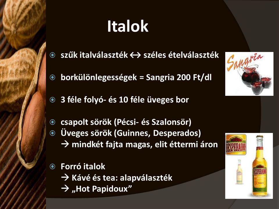 Italok  szűk italválaszték ↔ széles ételválaszték  borkülönlegességek = Sangria 200 Ft/dl  3 féle folyó- és 10 féle üveges bor  csapolt sörök (Péc