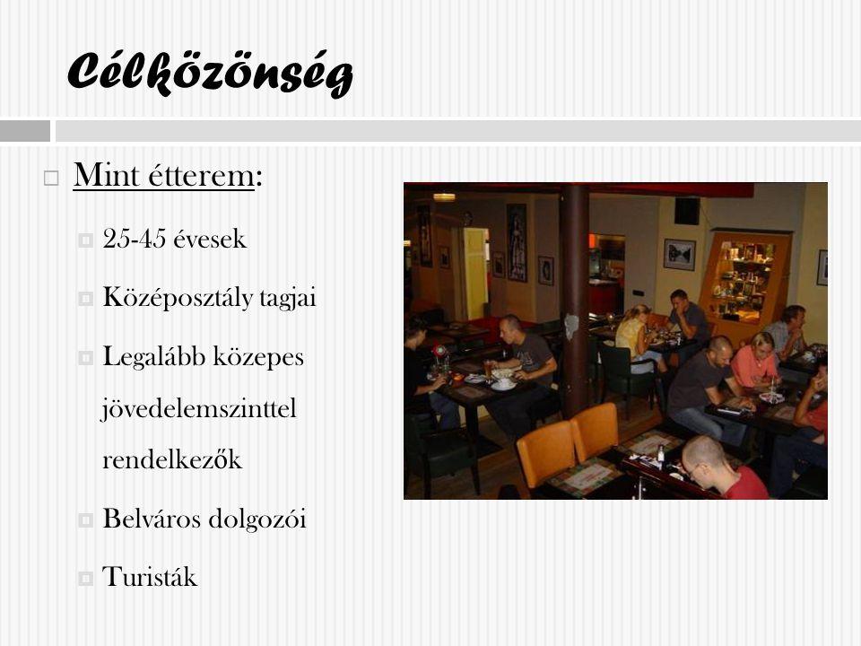 Célközönség  Mint étterem:  25-45 évesek  Középosztály tagjai  Legalább közepes jövedelemszinttel rendelkez ő k  Belváros dolgozói  Turisták