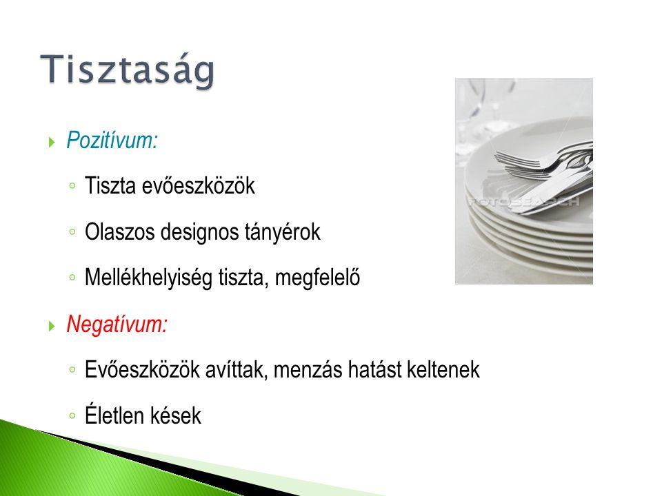  Pozitívum: ◦ Tiszta evőeszközök ◦ Olaszos designos tányérok ◦ Mellékhelyiség tiszta, megfelelő  Negatívum: ◦ Evőeszközök avíttak, menzás hatást kel