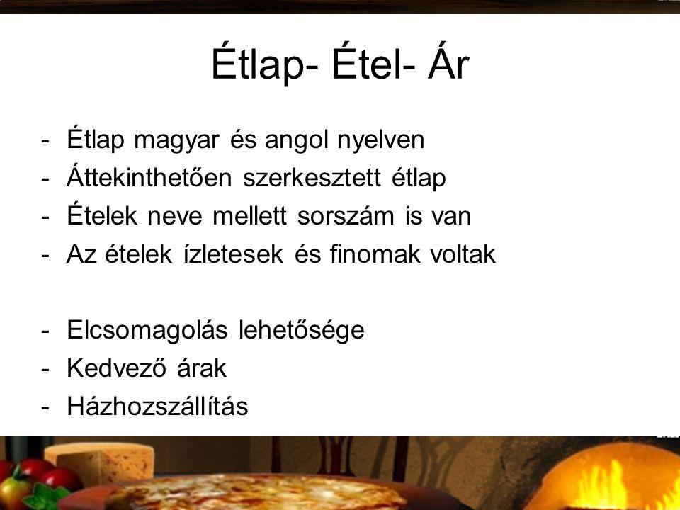 Étlap- Étel- Ár -Étlap magyar és angol nyelven -Áttekinthetően szerkesztett étlap -Ételek neve mellett sorszám is van -Az ételek ízletesek és finomak voltak -Elcsomagolás lehetősége -Kedvező árak -Házhozszállítás