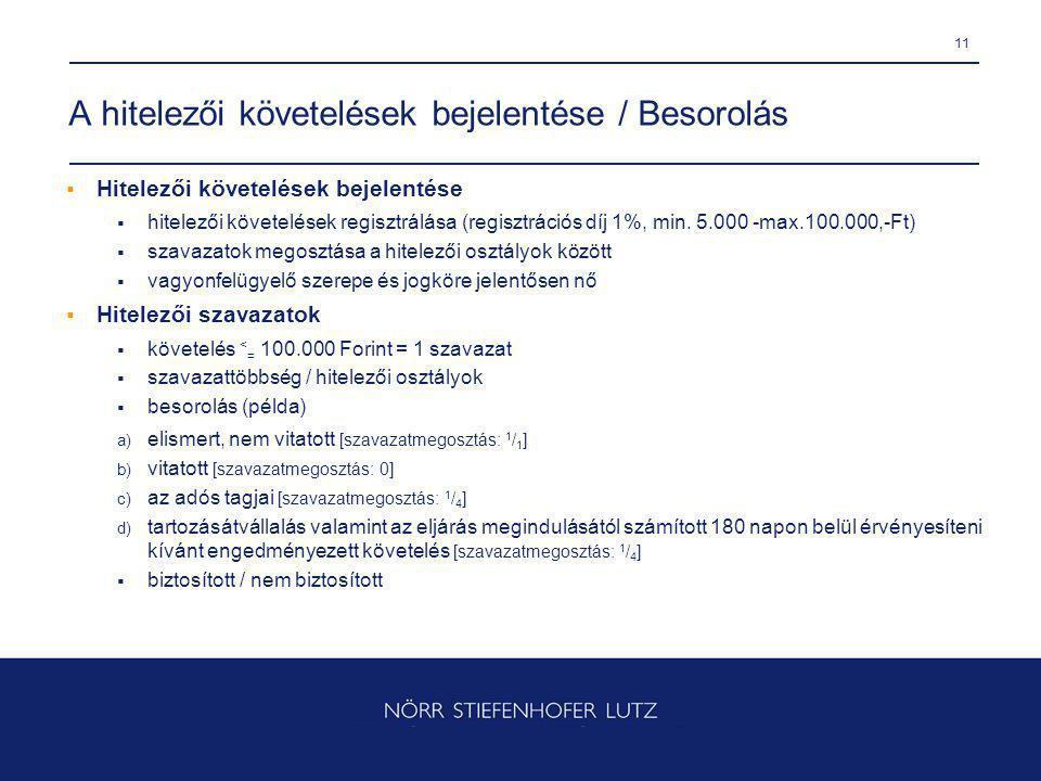 11 A hitelezői követelések bejelentése / Besorolás  Hitelezői követelések bejelentése  hitelezői követelések regisztrálása (regisztrációs díj 1%, min.