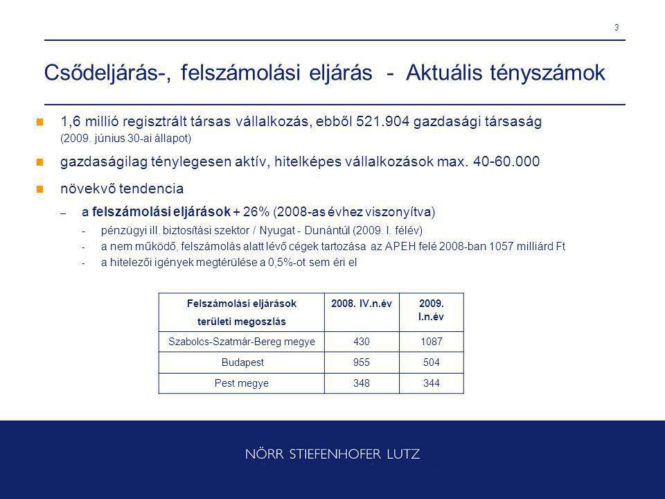 3 Csődeljárás-, felszámolási eljárás - Aktuális tényszámok 1,6 millió regisztrált társas vállalkozás, ebből 521.904 gazdasági társaság (2009.