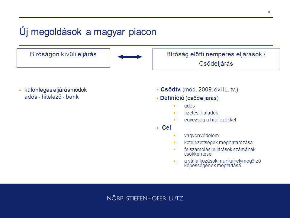 8 Új megoldások a magyar piacon  különleges eljárásmódok adós - hitelező - bank  Csődtv. (mód. 2009. évi IL. tv.)  Definíció (csődeljárás)  adós 