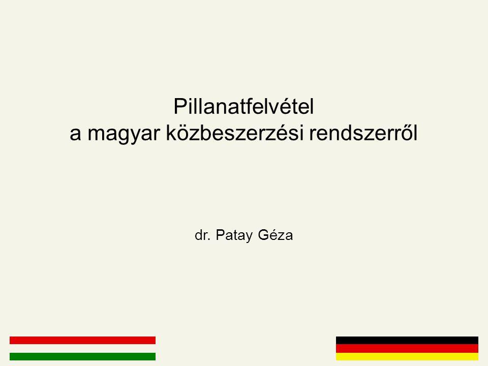 Pillanatfelvétel a magyar közbeszerzési rendszerről dr. Patay Géza