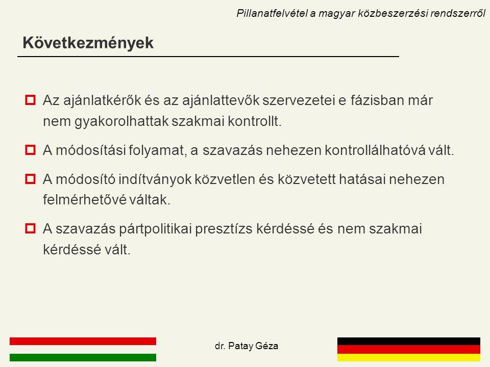 Következmények Pillanatfelvétel a magyar közbeszerzési rendszerről  Az ajánlatkérők és az ajánlattevők szervezetei e fázisban már nem gyakorolhattak