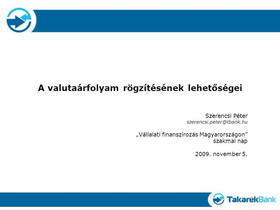 """A valutaárfolyam rögzítésének lehetőségei Szerencsi Péter szerencsi.peter@tbank.hu """"Vállalati finanszírozás Magyarországon szakmai nap 2009."""