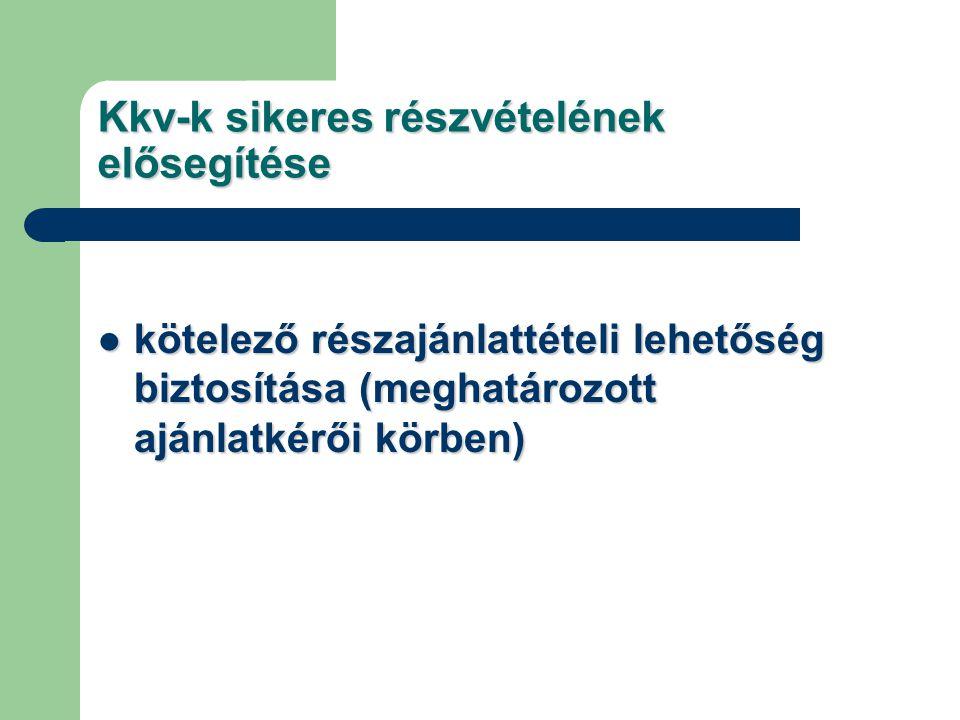 Kkv-k sikeres részvételének elősegítése kötelező részajánlattételi lehetőség biztosítása (meghatározott ajánlatkérői körben) kötelező részajánlattétel