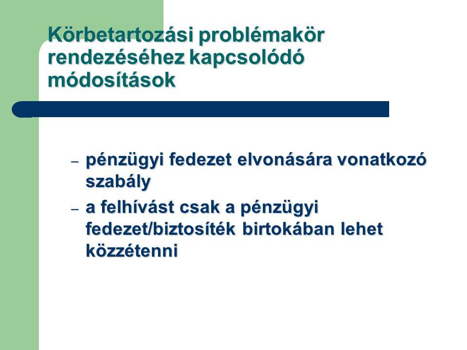 Körbetartozási problémakör rendezéséhez kapcsolódó módosítások – pénzügyi fedezet elvonására vonatkozó szabály – a felhívást csak a pénzügyi fedezet/biztosíték birtokában lehet közzétenni