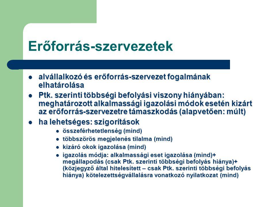 Erőforrás-szervezetek alvállalkozó és erőforrás-szervezet fogalmának elhatárolása alvállalkozó és erőforrás-szervezet fogalmának elhatárolása Ptk. sze
