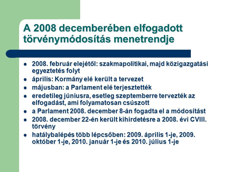 A 2008 decemberében elfogadott törvénymódosítás menetrendje 2008. február elejétől: szakmapolitikai, majd közigazgatási egyeztetés folyt 2008. február
