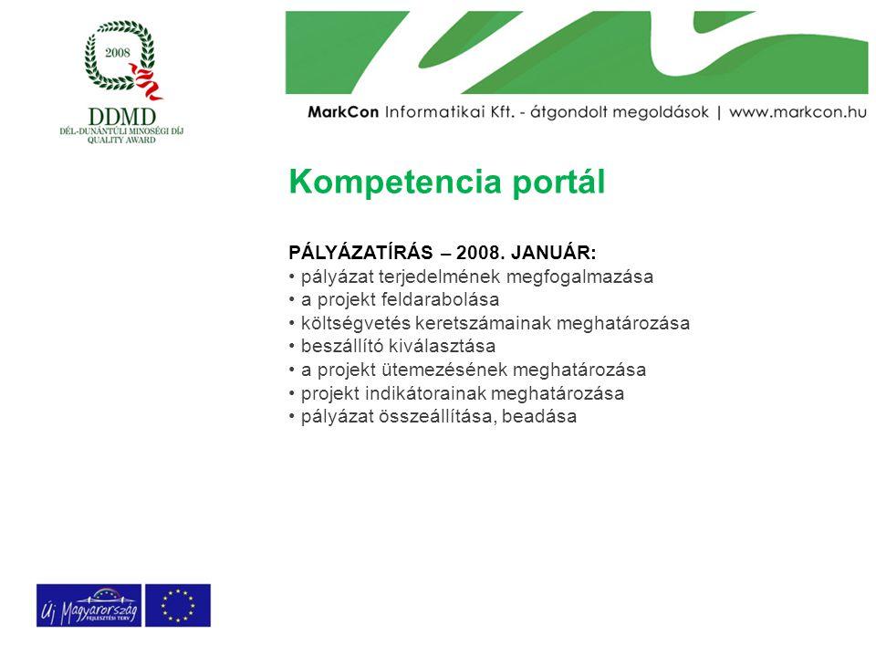 Kompetencia portál PÁLYÁZATÍRÁS – 2008. JANUÁR: pályázat terjedelmének megfogalmazása a projekt feldarabolása költségvetés keretszámainak meghatározás