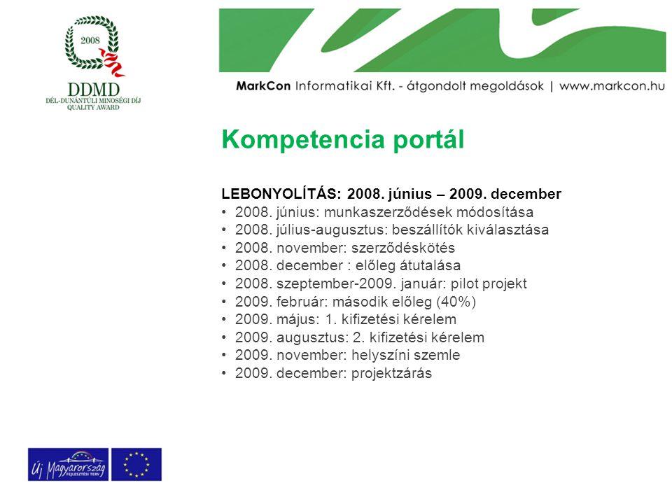 Kompetencia portál LEBONYOLÍTÁS: 2008. június – 2009. december 2008. június: munkaszerződések módosítása 2008. július-augusztus: beszállítók kiválaszt