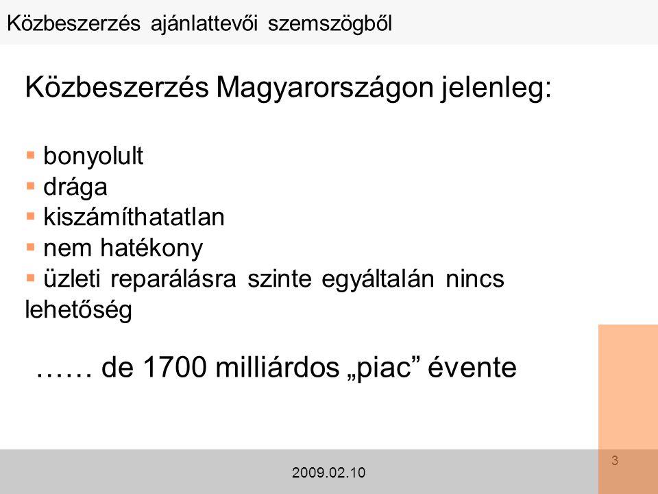 3 Közbeszerzés ajánlattevői szemszögből 2009.02.10 Közbeszerzés Magyarországon jelenleg:  bonyolult  drága  kiszámíthatatlan  nem hatékony  üzlet