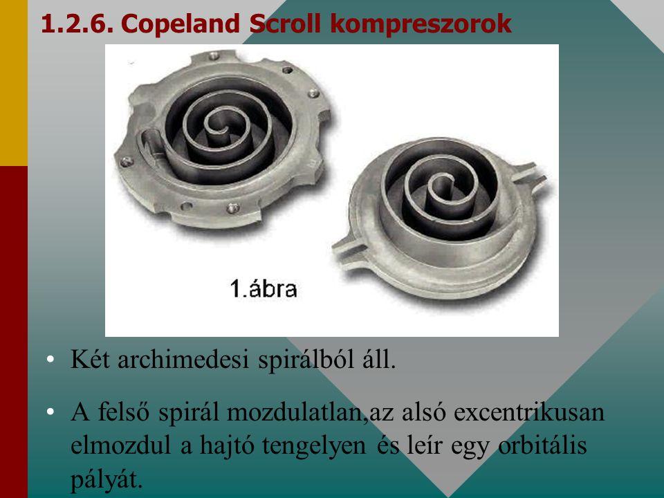 1.2.6. Copeland Scroll kompreszorok Két archimedesi spirálból áll. A felső spirál mozdulatlan,az alsó excentrikusan elmozdul a hajtó tengelyen és leír