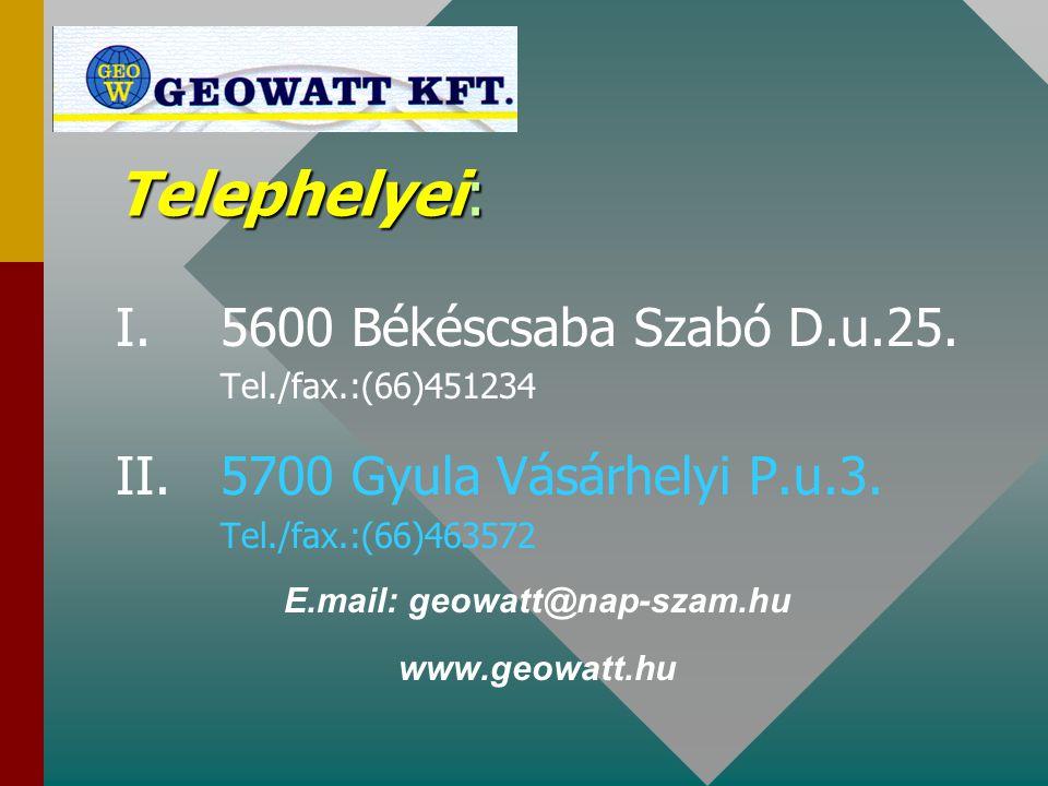 Telephelyei: I. 5600 Békéscsaba Szabó D.u.25. Tel./fax.:(66)451234 II.5700 Gyula Vásárhelyi P.u.3. Tel./fax.:(66)463572 E.mail: geowatt@nap-szam.hu ww
