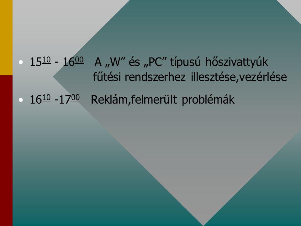 """15 10 - 16 00 A """"W"""" és """"PC"""" típusú hőszivattyúk fűtési rendszerhez illesztése,vezérlése 16 10 -17 00 Reklám,felmerült problémák"""