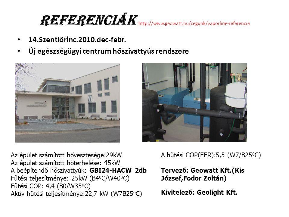 Referenciák http://www.geowatt.hu/cegunk/vaporline-referencia 14.Szentlőrinc.2010.dec-febr. Új egészségügyi centrum hőszivattyús rendszere Az épület s