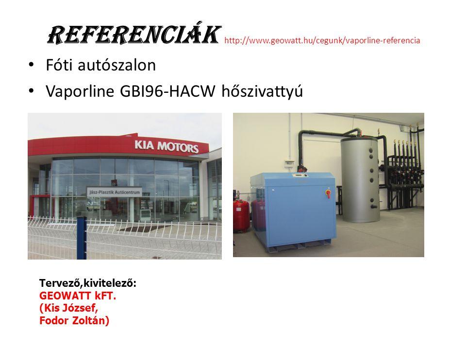 Referenciák http://www.geowatt.hu/cegunk/vaporline-referencia Fóti autószalon Vaporline GBI96-HACW hőszivattyú Tervező,kivitelező: GEOWATT kFT. (Kis J