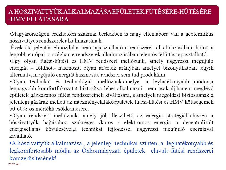 2013. 06 A HŐSZIVATTYÚK ALKALMAZÁSA ÉPÜLETEK FŰTÉSÉRE-HŰTÉSÉRE -HMV ELLÁTÁSÁRA Magyarországon érezhetően szakmai berkekben is nagy ellentábora van a g