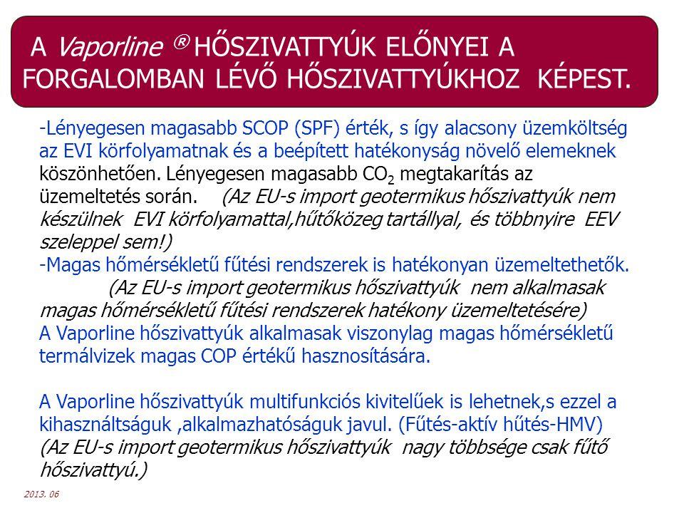 2013. 06 A Vaporline ® HŐSZIVATTYÚK ELŐNYEI A FORGALOMBAN LÉVŐ HŐSZIVATTYÚKHOZ KÉPEST. -Lényegesen magasabb SCOP (SPF) érték, s így alacsony üzemkölts