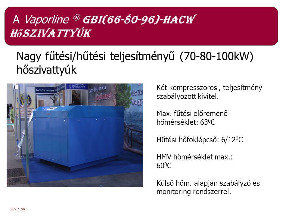 2013. 06 A Vaporline ® GBI(66-80-96)-HACW h ő szivattyúk Nagy fűtési/hűtési teljesítményű (70-80-100kW) hőszivattyúk Két kompresszoros, teljesítmény s