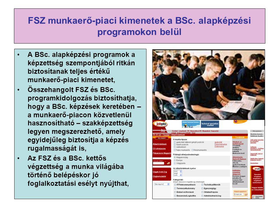 FSZ munkaerő-piaci kimenetek a BSc. alapképzési programokon belül A BSc. alapképzési programok a képzettség szempontjából ritkán biztosítanak teljes é