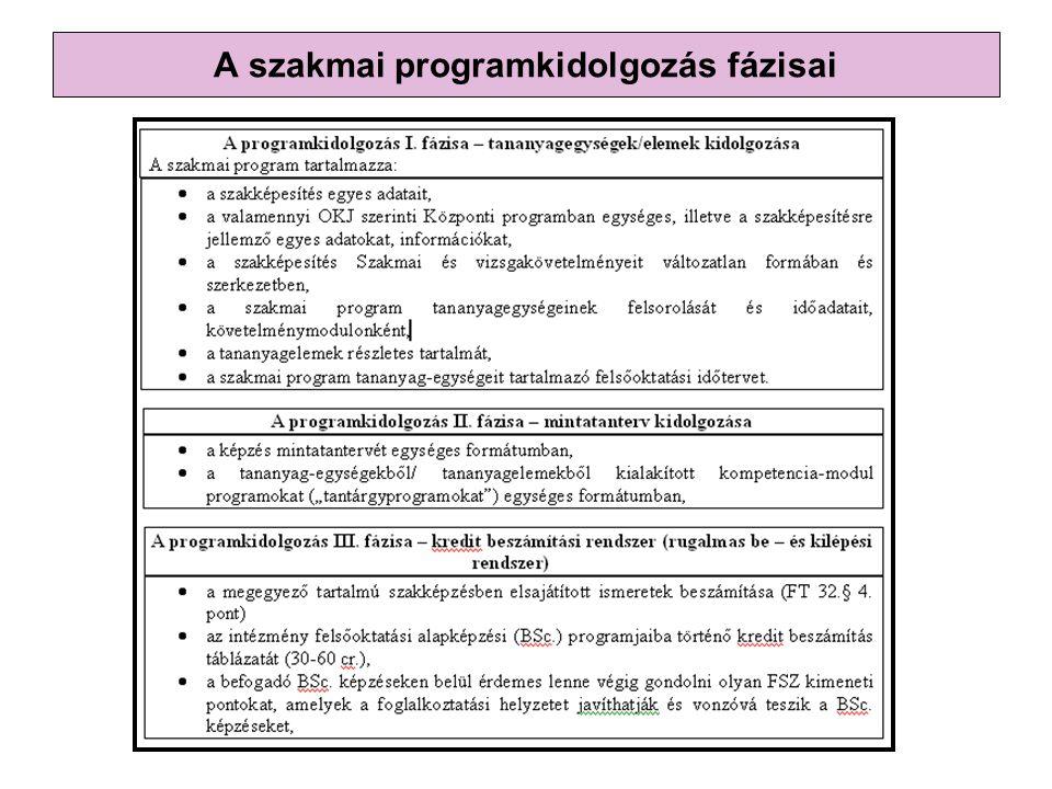 A szakmai programkidolgozás fázisai