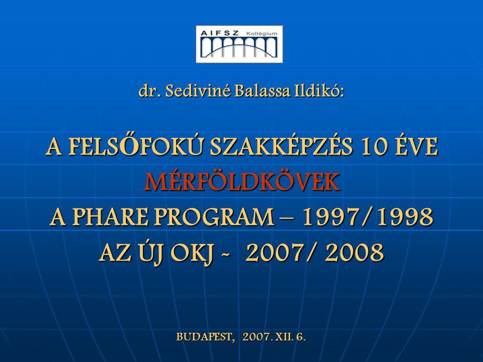 dr. Sediviné Balassa Ildikó: A FELS Ő FOKÚ SZAKKÉPZÉS 10 ÉVE MÉRFÖLDKÖVEK A PHARE PROGRAM – 1997/1998 AZ ÚJ OKJ - 2007/ 2008 BUDAPEST, 2007. XII. 6.