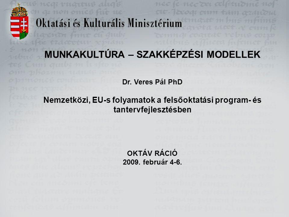 MUNKAKULTÚRA – SZAKKÉPZÉSI MODELLEK Dr. Veres Pál PhD Nemzetközi, EU-s folyamatok a felsőoktatási program- és tantervfejlesztésben OKTÁV RÁCIÓ 2009. f