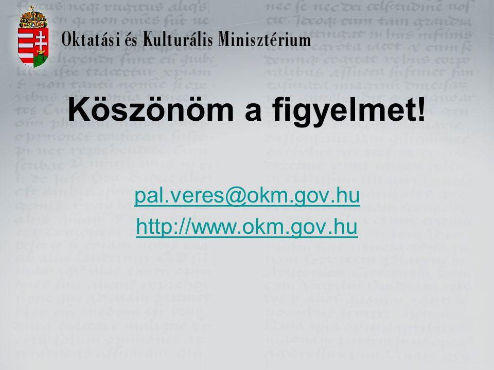 Köszönöm a figyelmet! pal.veres@okm.gov.hu http://www.okm.gov.hu