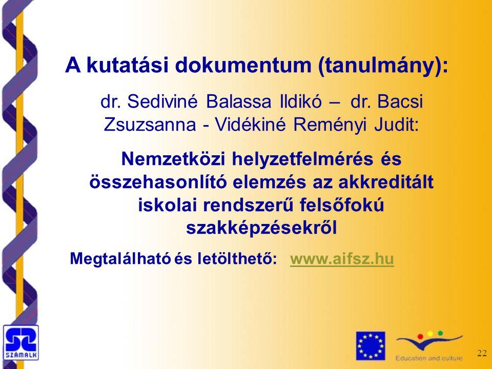 22 A kutatási dokumentum (tanulmány): dr. Sediviné Balassa Ildikó – dr.