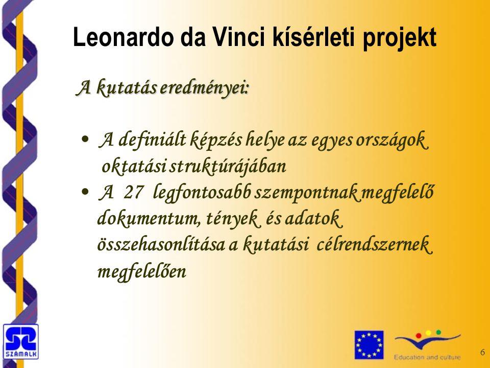6 A kutatás eredményei: A definiált képzés helye az egyes országok oktatási struktúrájában A 27 legfontosabb szempontnak megfelelő dokumentum, tények és adatok összehasonlítása a kutatási célrendszernek megfelelően Leonardo da Vinci kísérleti projekt