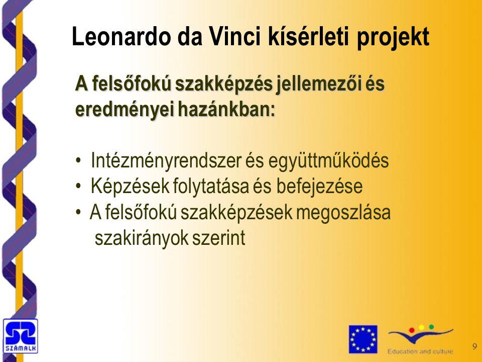 9 A felsőfokú szakképzés jellemezői és eredményei hazánkban: Intézményrendszer és együttműködés Képzések folytatása és befejezése A felsőfokú szakképzések megoszlása szakirányok szerint Leonardo da Vinci kísérleti projekt