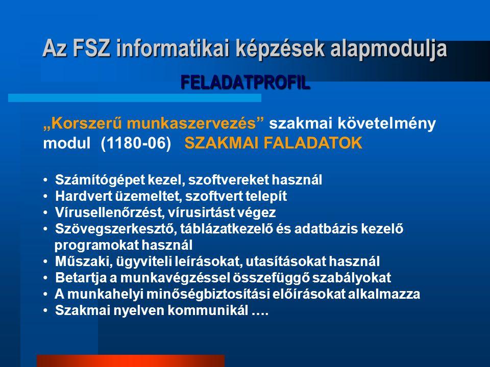 """Az FSZ informatikai képzések alapmodulja FELADATPROFIL """"Korszerű munkaszervezés"""" szakmai követelmény modul (1180-06) SZAKMAI FALADATOK Számítógépet ke"""