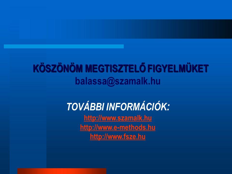 KÖSZÖNÖM MEGTISZTELŐ FIGYELMÜKET balassa@szamalk.hu TOVÁBBI INFORMÁCIÓK : http://www.szamalk.hu http://www.e-methods.hu http://www.fsze.hu