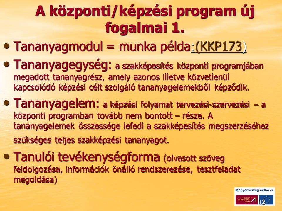 12 A központi/képzési program új fogalmai 1.