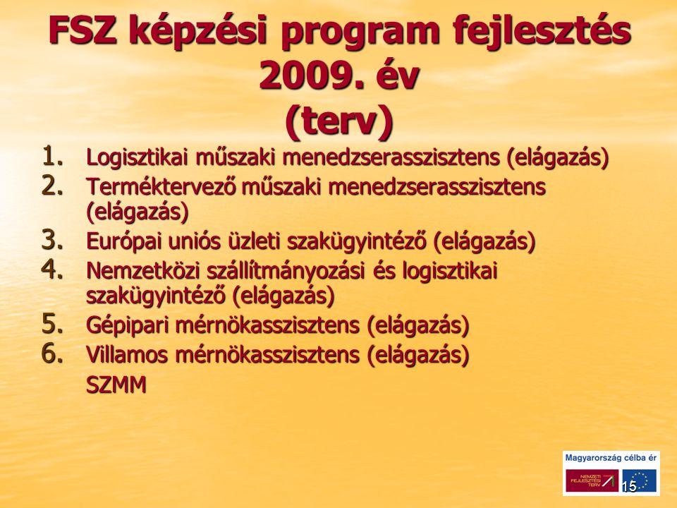 15 FSZ képzési program fejlesztés 2009. év (terv) 1.