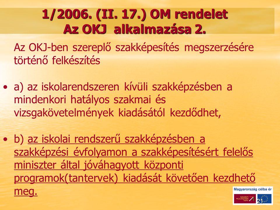 21 1/2006. (II. 17.) OM rendelet Az OKJ alkalmazása 2.