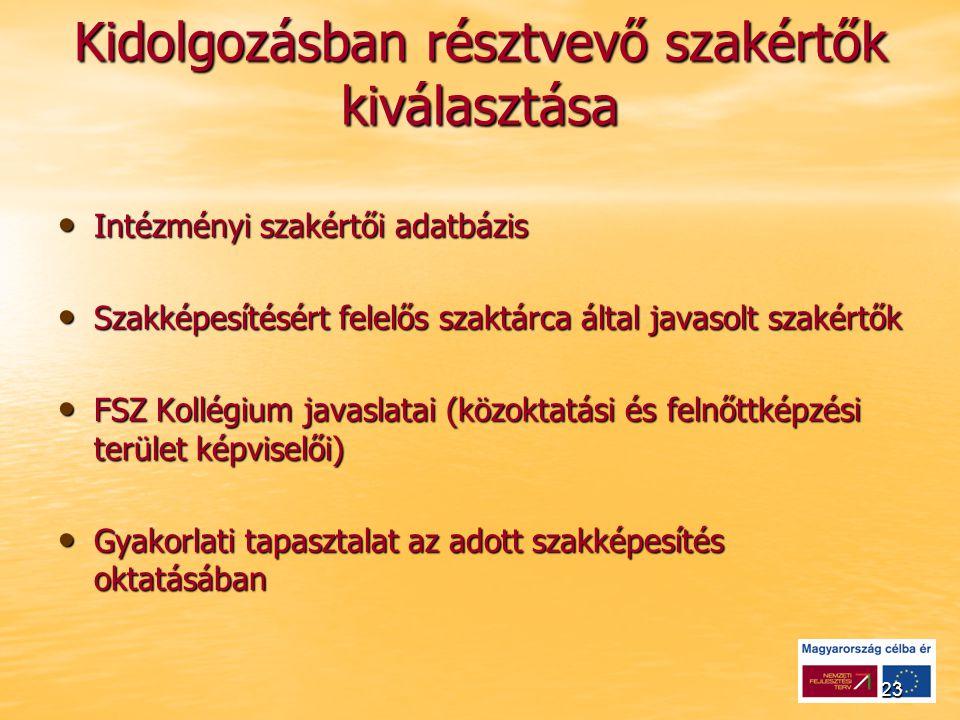 23 Kidolgozásban résztvevő szakértők kiválasztása Intézményi szakértői adatbázis Intézményi szakértői adatbázis Szakképesítésért felelős szaktárca által javasolt szakértők Szakképesítésért felelős szaktárca által javasolt szakértők FSZ Kollégium javaslatai (közoktatási és felnőttképzési terület képviselői) FSZ Kollégium javaslatai (közoktatási és felnőttképzési terület képviselői) Gyakorlati tapasztalat az adott szakképesítés oktatásában Gyakorlati tapasztalat az adott szakképesítés oktatásában