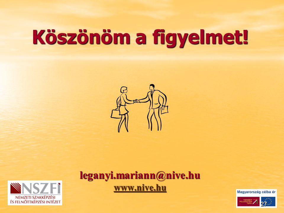 27 Köszönöm a figyelmet! leganyi.mariann@nive.hu www.nive.hu