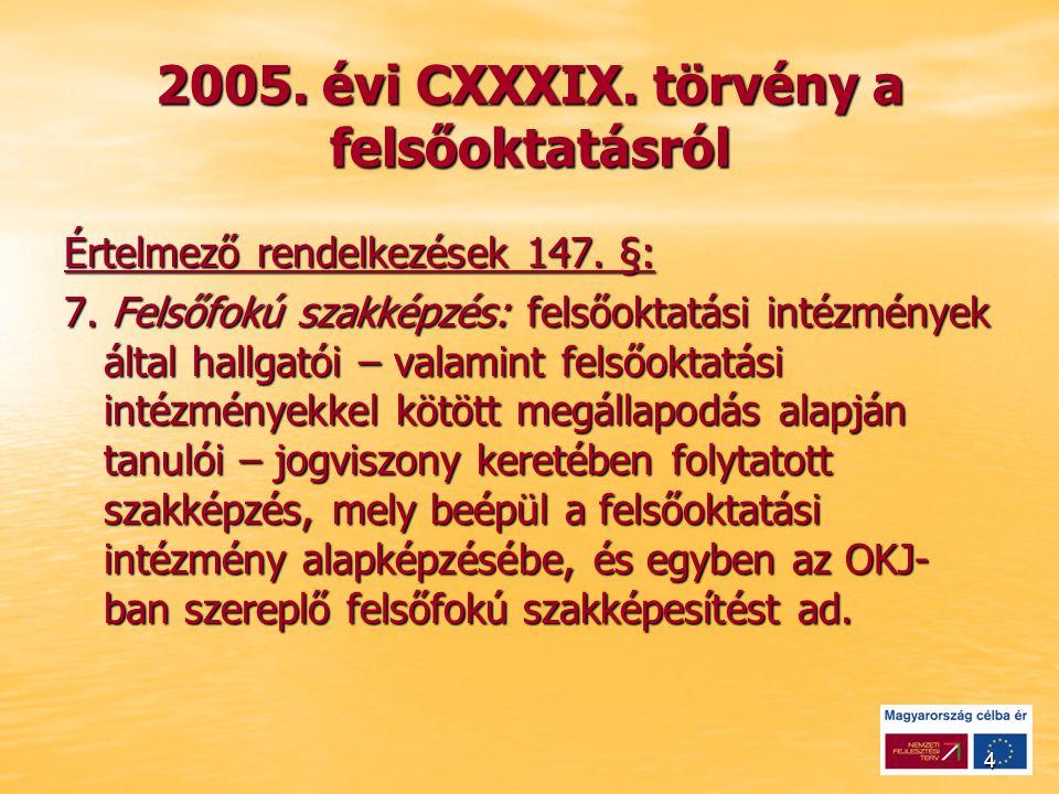 4 2005. évi CXXXIX. törvény a felsőoktatásról Értelmező rendelkezések 147.