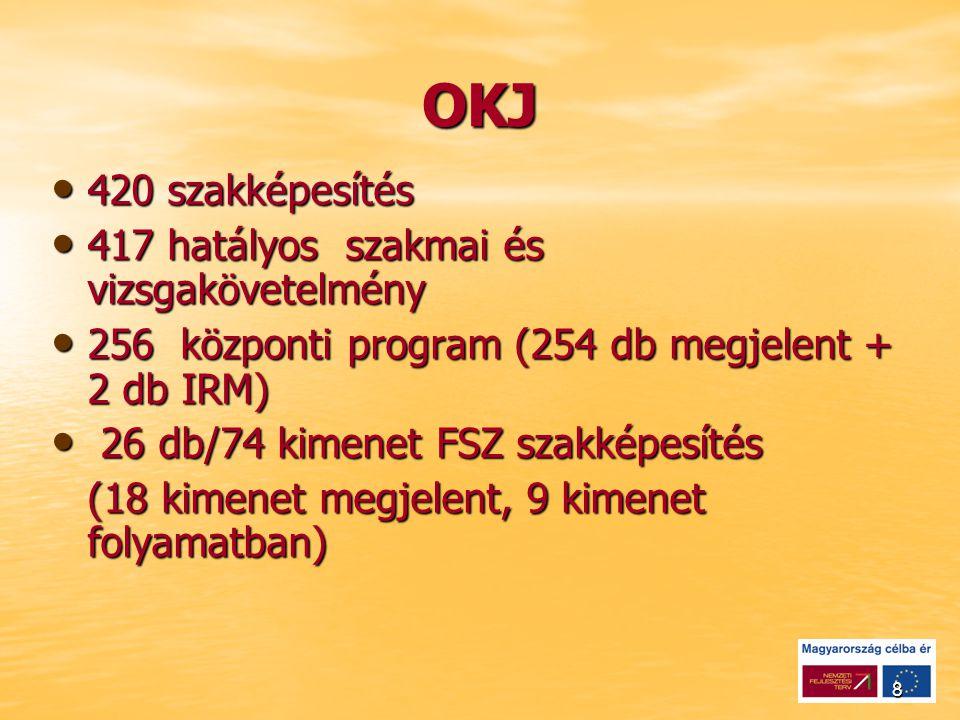 8 OKJ 420 szakképesítés 420 szakképesítés 417 hatályos szakmai és vizsgakövetelmény 417 hatályos szakmai és vizsgakövetelmény 256 központi program (254 db megjelent + 2 db IRM) 256 központi program (254 db megjelent + 2 db IRM) 26 db/74 kimenet FSZ szakképesítés 26 db/74 kimenet FSZ szakképesítés (18 kimenet megjelent, 9 kimenet folyamatban)