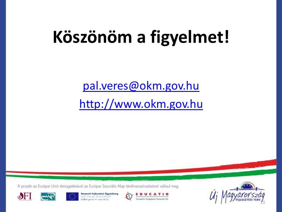 25 Köszönöm a figyelmet! pal.veres@okm.gov.hu http://www.okm.gov.hu