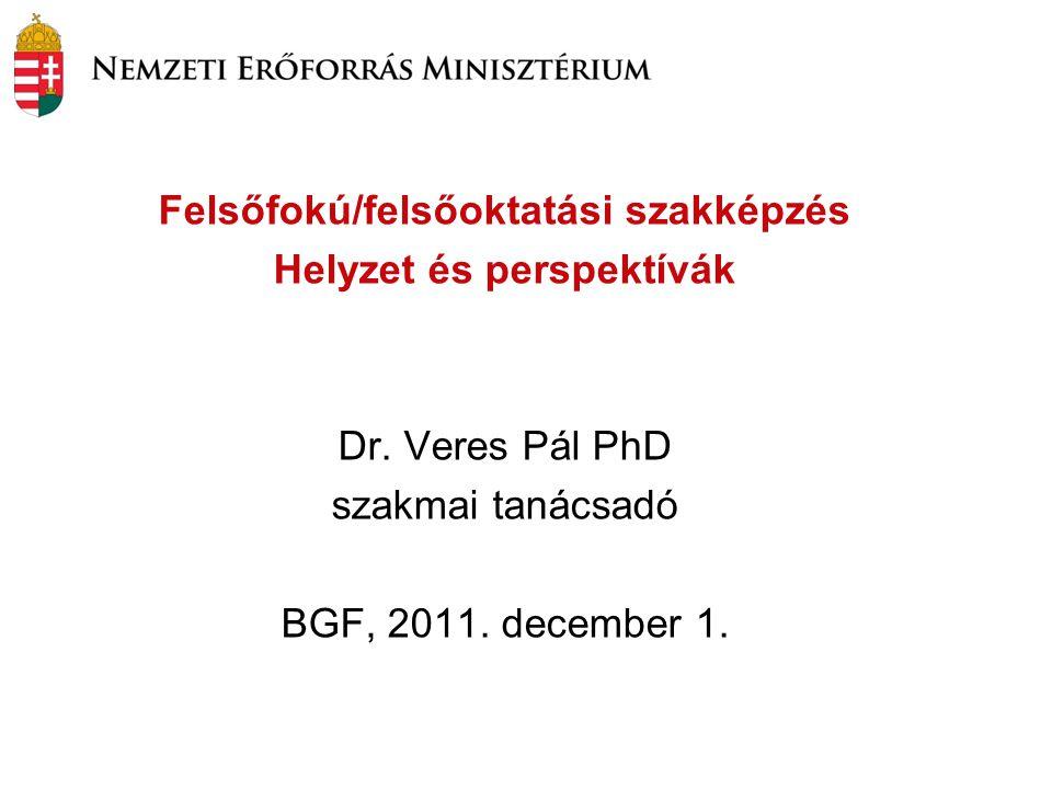 Felsőfokú/felsőoktatási szakképzés Helyzet és perspektívák Dr. Veres Pál PhD szakmai tanácsadó BGF, 2011. december 1.